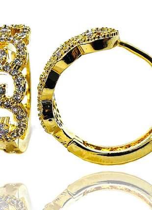 Argola click elos dourada