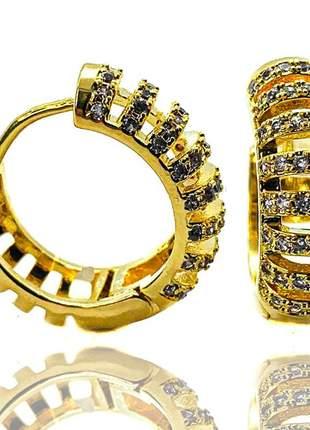Argola click listas dourado