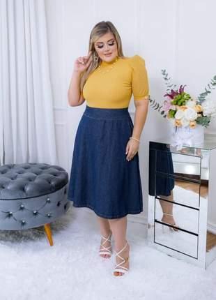 Saia midi jeans feminina cintura alta