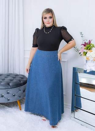 Saia jeans longa feminina cintura alta