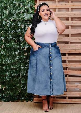 Saia jeans plus size midi feminina botões cintura alta