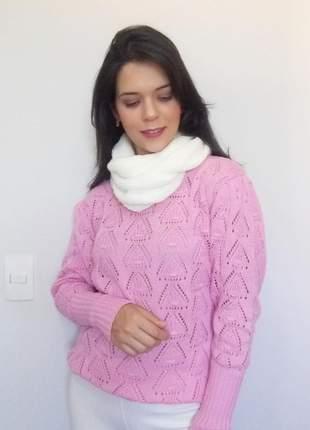 Gola cachecol em tricô