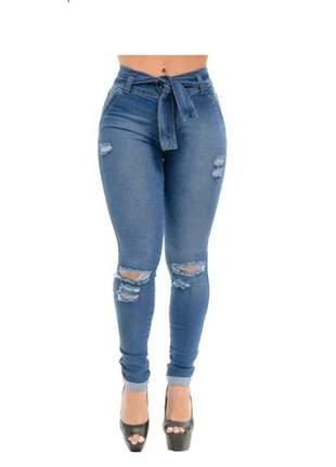 Calça jeans feminina com lycra barata com cinto de brinde