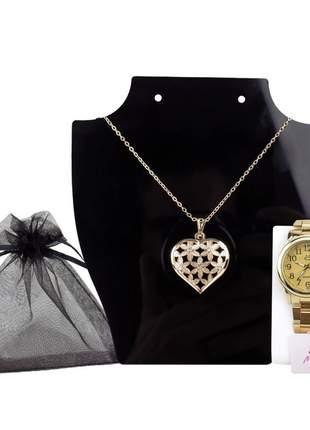 Relógio feminino pulseira de aço analógico funcional elegante e confortável mais brinde