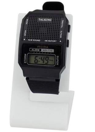 Relógio fala a hora pulseira emborrachada e números digitais grandes além de despertador