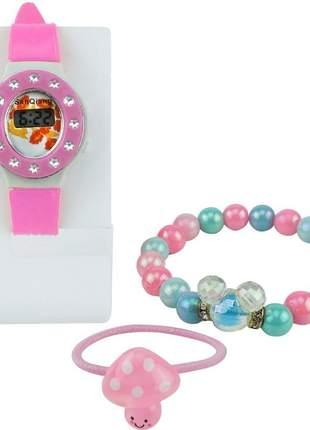 Relógio kids pulseira: silicone números digitais acompanha uma pulseira, e um xuxinha