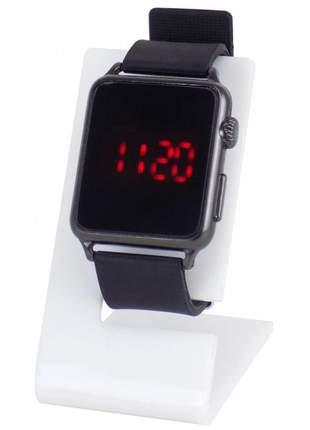 Relógio feminino led quadrado lindo pulseira de silicone confortável