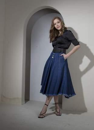 Saia jeans midi nesgas rodada moda evangélica feminina