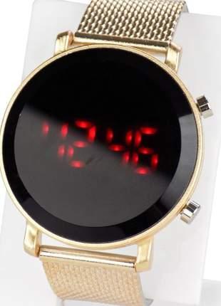 Kit 2 relógio feminino digital led pulseira: silicone confortável