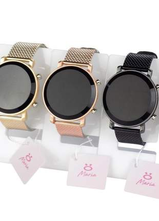 Kit 4 relógio feminino digital led pulseira: silicone confortável