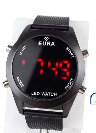 Relógio digital led pulseira silicone confortavel