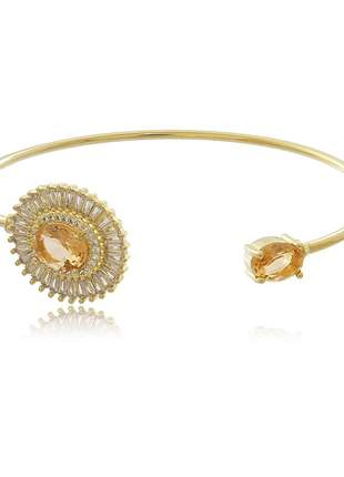 Bracelete aro oval cristal com baguete