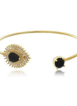 Bracelete aro com gota preta e zorconia cristal navete
