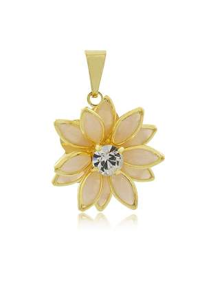 Pingente flor navete champanhe pequeno ouro