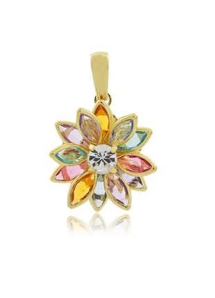 Pingente flor navete colorida pequeno ouro