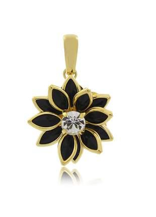 Pingente flor navete cor preta pequeno ouro