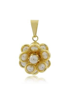 Pingente flor redonda perolada pequeno ouro