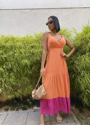 Vestido camadas laranja