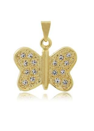 Pingente borboleta cravejada zirconia cristal  ouro