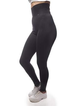Calça Legging Modeladora com Cintura Alta de Algodão Cinza