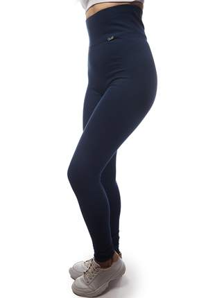Calça Legging Modeladora com Cintura Alta de Algodão Azul Marinho
