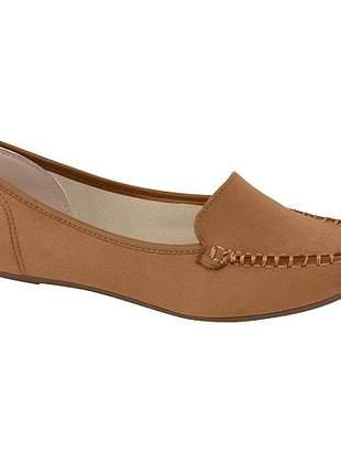 Sapato mocassim fem moleca camurça flex camel 5252.207