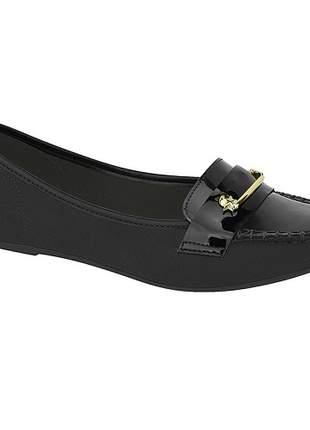 Sapato fem mocassim moleca camurça/verniz preto 5252.222