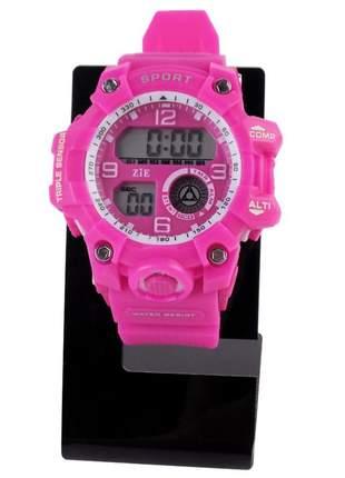 Relógio feminino pulseira silicone digital funcional confortável elegante a prova d'água