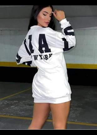 Vestido blusão moletom de frio feminino manga longa inverno  moda gringa