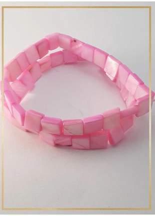 Pulseira bracelete confeccionada com madrepérolas em fio silicone alta resistência rosa