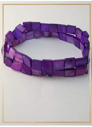 Pulseira bracelete confeccionada com madrepérolas em fio silicone alta resistência roxa