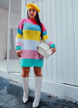 Vestido tricot color  lindo e confortável ideal para o friozinho cod.pink