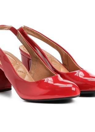 Sapato Vizzano Chanel Verniz Salto Grosso Vermelho 1288.103