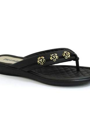 Chinelo Sola Pu Piccadilly Preto/Flor 500145