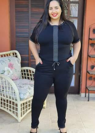 Plus size conjunto moletinho calça e blusa com detalhes em lurex coleção 2021