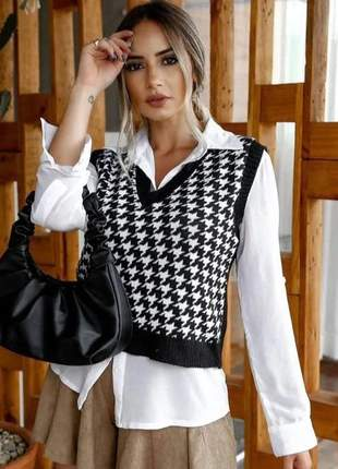 Colete tricot modal gola v inverno xadrez pied moda tendência