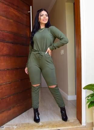 Conjunto calça  blusa feminino luxo moletinho outono inverno manga longa