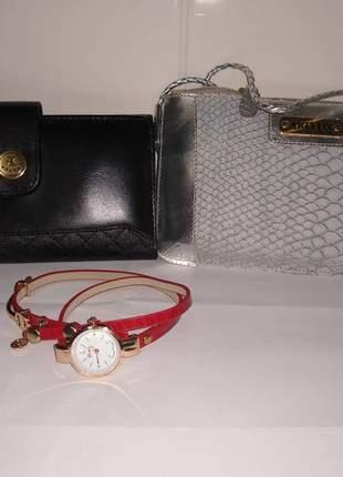 Kit bolsa, carteira e relógio