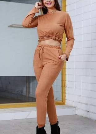 Lindo e confortável o queridinho conjunto calça e blusa suede cod.conjsue