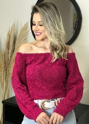 Cropped ciganinha ombro a ombro blusa blusinha de frio tricô manga longa bufante novidade