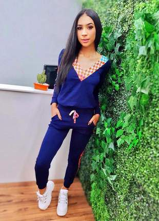 Conjunto feminino conjuntinho blusa manga longa  com calça exclusivo