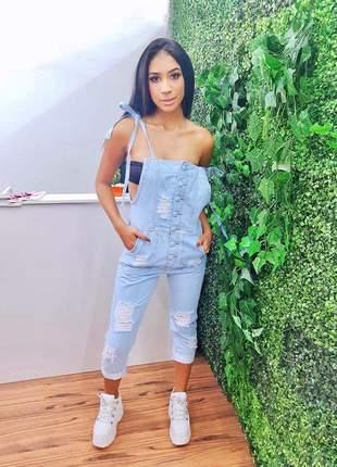Macacão jeans com alça laço pantacourd moda feminina