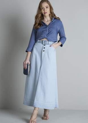 Saia jeans longa clara tipo joyaly moda evangélica feminina