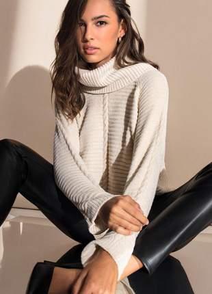 Sueter trico creme feminino e136741004