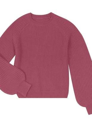 Blusão tricô rosa feminino 619206561577