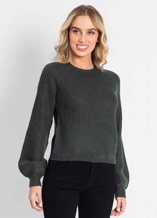 Blusão tricô verde feminino 61920656024