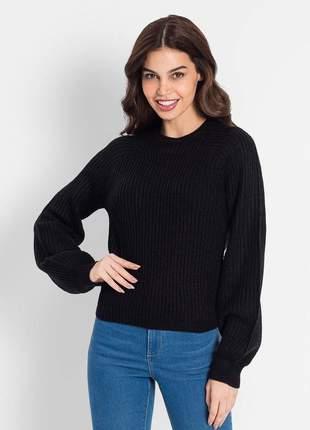 Blusão tricô preto feminino 61920657539