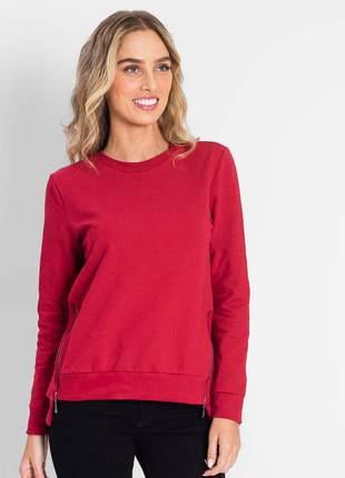 Blusão de moletom ziper lateral vermelho feminino e13635778