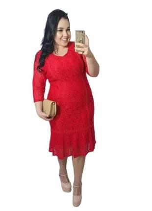 Vestido vermelho midi renda feminino vest003