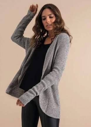 Casaco de tricô feminino cinza e136591109